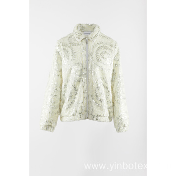 White fake fur jacket with sequins